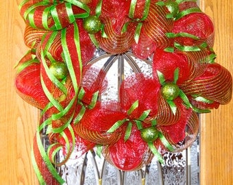 Deco Mesh Christmas Wreath - Extra-Large Mesh Christmas Wreath - Deco Mesh Wreath