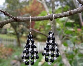 Black and Clear Rhinestone Earrings / Little Black Dress Earrings
