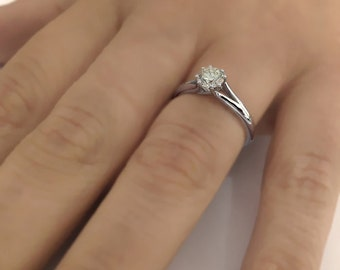 Solitaire Round Cut Diamond Engagement Ring 14k White Gold or Yellow Gold Art Deco Diamond Ring