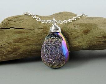 Titanium Agate Druzy Necklace, Multi Color Druzy Necklace, Druse Jewelry, Wire Wrapped Druzy