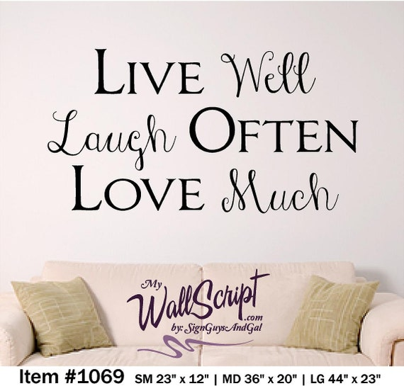 live well laugh often love much home wall decal home decor. Black Bedroom Furniture Sets. Home Design Ideas