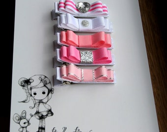Belle's Bows.Set of five girls hair bows.Pink,light pink,coral,white and silver.glitter bows.non slip hair bows.bright pink anda silver.Bows