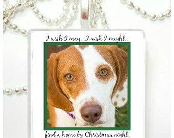 I wish I may, I wish I might, find a home by Christmas night Glass Tile Pendant