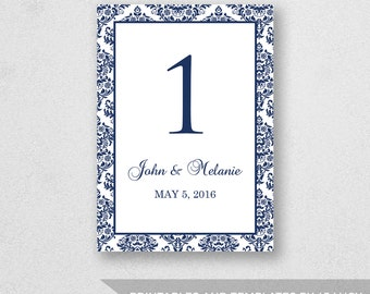 Table Number Template Printable - INSTANT DOWNLOAD - For Word and Pages - Mac and PC - Damask Design - 5 x 7 inches