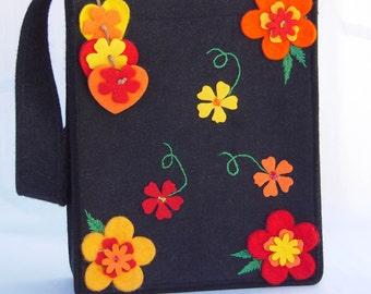 Felt Bag, Purse with Felt Flower Decorations,  Study, School Bag, Book Bag, iPad bag