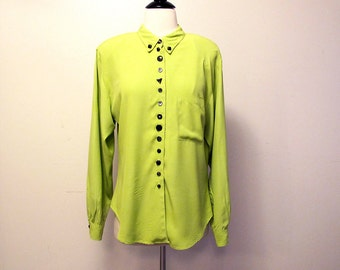 Chartreuse 80s Shirt, Vintage Green Blouse, Long Sleeve Top