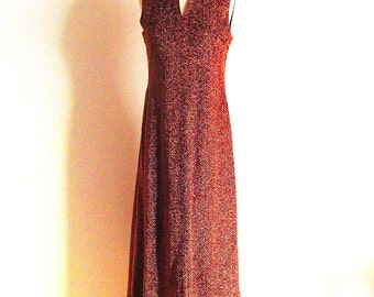 Vintage 70s Metalic Copper Gown with a Keyhole Neckline