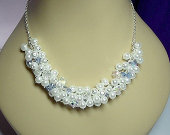White Pearl and Blue Crystal Cluster Necklace, Christmas Gift, Mom Sister Grandmother Jewelry Gift, Bridesmaid Gift, Sparkle
