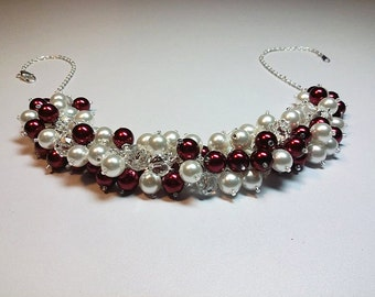 Deep Red and White Pearl Crystal Cluster Necklace, Valentines Mothers Day Gift, Mom Sister Grandmother Jewelry, Bridesmaid Girlfriend Gift