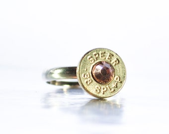 Simplistic Bullet Ring-  Nickel and Antique Pink
