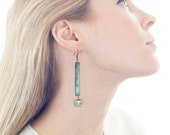 "Black & Verdigris Patina w/ Pyrite Stone Earrings - ""Darla"""