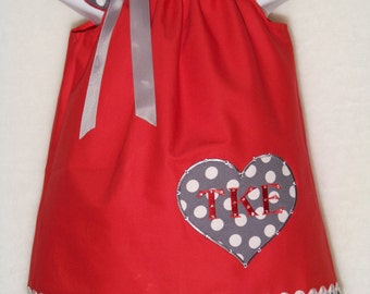 Valentine's Day Bling Dress / Personalized Heart / Beautiful / Rhinestones / Red / Gray / Polka Dots / Newborn / Infant / Baby / Toddler