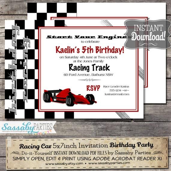 Racing Car Grand Prix Birthday Invitation INSTANT DOWNLOAD – Printable Cars Birthday Invitations