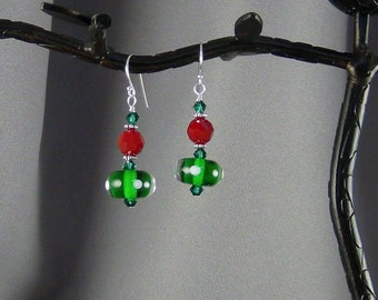 """OOAK, Green Polka Dot Lampwork Glass Bead Earrings, Red Swarovski Crystals, SS Earwires - 1 3/4"""" - Hand Crafted Artisan Jewelry"""