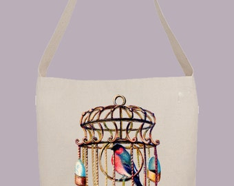Vintage Caged Bird Illustration  - Hobo Sling Tote, 14.5x14x3, Crossbody Strap, Magnetic Closure, Inside pocket