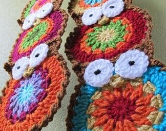 Crochet Pattern - B HOO UR Scarf - a crochet owl scarf pattern, colorful crochet owl pattern, crochet scarf pattern - Instant PDF Download