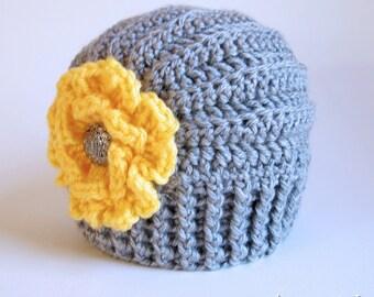CROCHET PATTERN - Très Chic - crochet hat pattern with flower, crochet beanie pattern (Infant - Adult sizes) - Instant PDF Download