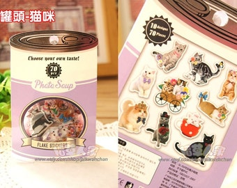 Photo Soup - Lovely Cats Flake Stickers (70 pcs)