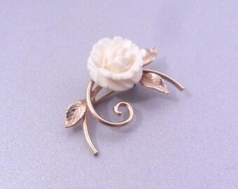 SALE Winard 12K Gold Filled Carved Flower Brooch - Ivory Color Floral Pin - Circa 1950