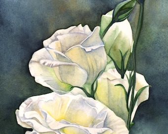Lisianthus print of watercolor painting L1815-  A4 size print