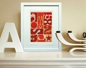 """Typographic ephemera, small abstract print - fine art giclée, with 8 x 10"""" mount. Style Mid Century red geometric. Title: 'Signals 0055GMT'"""