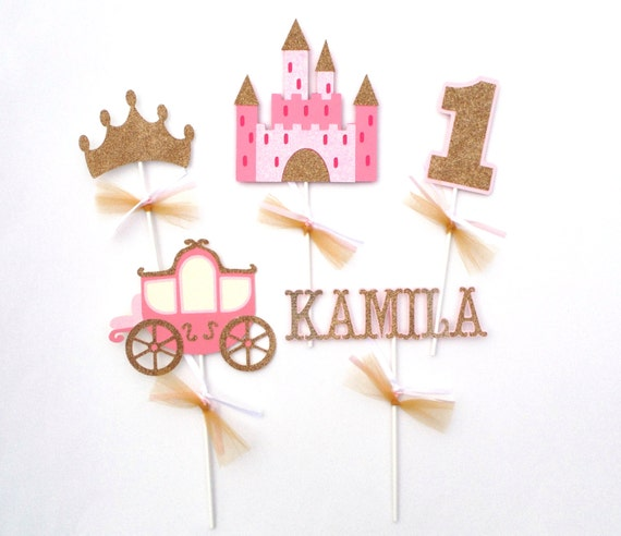 Princess pink and gold glitter themed centerpiece sticks for