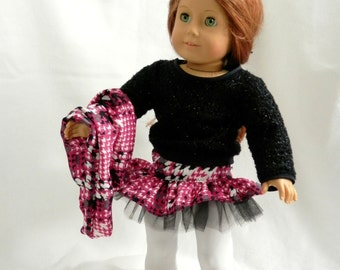 "Hot Pink Houndstooth Plaid Skirt, Infinity Scarf, Sparkly Black Sweater Outfit for 18"" Dolls"