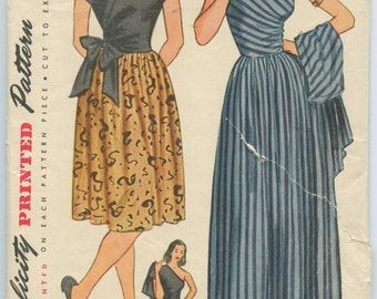 1940s Simplicity 1674 Misses One Shoulder Evening Dress and Surplice Jacket Shorter Surplice Bodice Day Dress Bust 32 Vintage Sewing Pattern