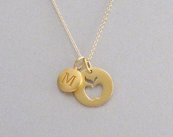 Gold Initial & Apple Charm Necklace - Personalized Jewelry - Initial Necklace - Teacher Necklace