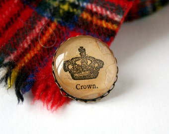 Vintage crown art. Upcycled jewelry. Victorian art brooch pin. English gift. Dictionary art pin. Victorian ephemera. Royalty accessory.
