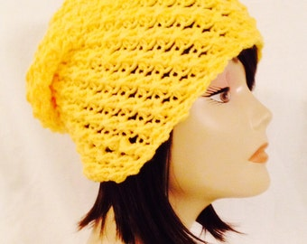 """long slouch beanie,cap, hat crochet, yellow unisex fits teens and adults 20""""-23"""""""