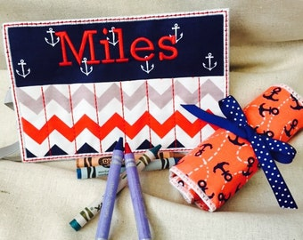 Anchors Away Adorable Personalized Crayon Roll