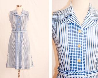 Vintage White & Blue Printed 70s Style Dress