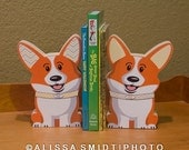 Custom Designed Wooden Corgi Bookends - Custom Created to coordinate with nursery (corgi, Pembroke Welsh Corgi, dog, puppy, yellow, grey)