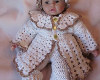 Handmade baby shower, christening Newborn Baby Cardigan with antique bottons, Pants, Booties, Hat set. Perfect Shower Gift /Take Home Outfit