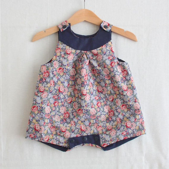Baby girl romper with flowery liberty prints, retro style baby girl rompers in pink and red   vintage baby girl gift for baby shower
