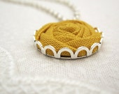 Ochre Flower Necklace - Fabric Rose Bridesmaid Necklace in Autumn Mustard Yellow