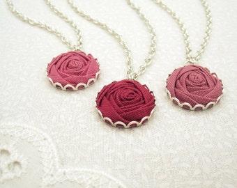 Blush Pink Rose Bridesmaid Necklaces - 3 Custom Fabric Flower Bridal Necklaces