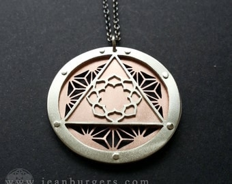 Asanoha Lotus Pendant - triple layer sterling silver and copper - Handcrafted Sacred Geometry Jewellery
