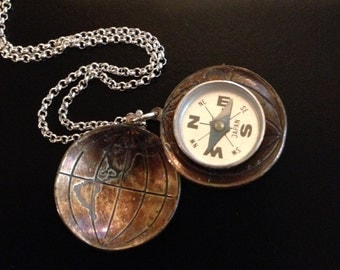 The Centre of the Earth Necklace - Compass, Orienteering, Steampunk, Geology, Globe, Science Gift