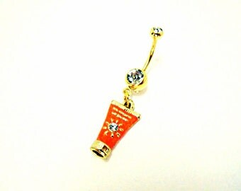 Belly Button Ring,   Summer Tanning Sunscreen  Charm  Womens Gift  Handmade