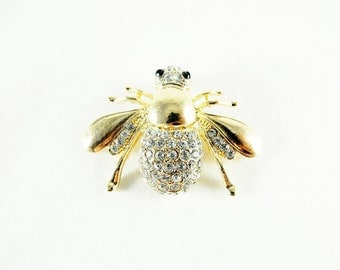 Gold Brooch Pin,  Steampunk Bee Brooch With Rhinestones Womens Gift