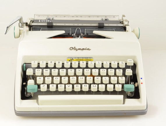 Vintage Olympia SM7 Deluxe Two-Tone White Portable Typewriter with Case, Made Germany RESERVED CHRISTINA