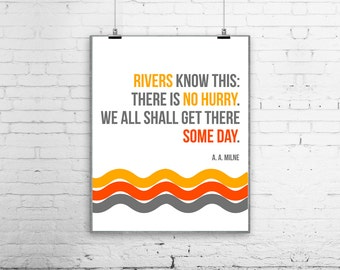 A A Milne Quote Inspirational Modern Retro Poster Print wall decoration SALE buy 2 get 3 Rivers know this