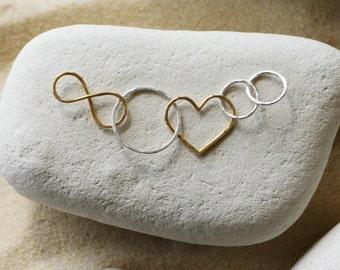 Linked Infinity Eternity Love Heart Pendant in Sterling Silver & 14 KGold Filled
