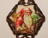 Vintage Santa charm small glass top cabochon image bead diy jewelry