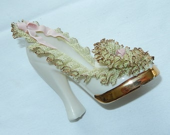 Bone china Ruffled Fancy High Heel Shoe -Gold Trimmed pink flowers pink  ribbon Fragile white Light green pink 24kt gold vintage