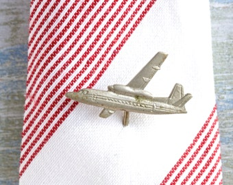 Airplane Tie Pin - Miniature white brass plane Lapel Pin