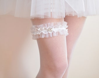 White tulle bridal garter, French lace and crystal heart