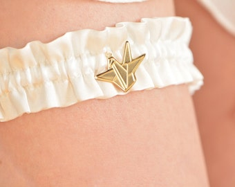 Off white silk bridal garter, gold origami crane 18k